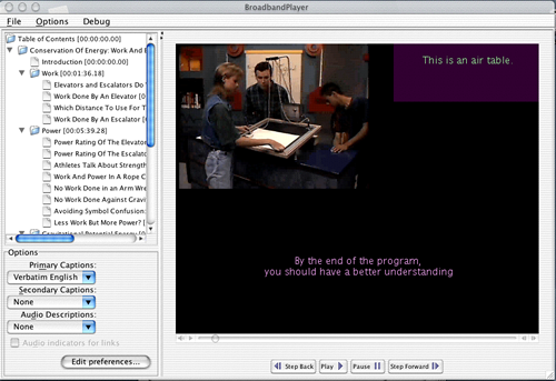 Screen shot showing one view of the player